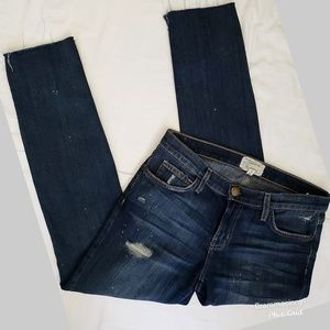 Current/Elliott Uneven Cut Destroyed Skinny Jeans
